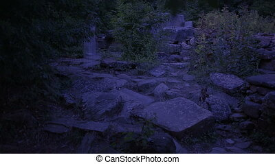 ghost of a young woman in the forest. ghost of the ancient ruins. halloween