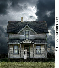 Ghost on Porch in a Storm - Ghost on the porch of an old...