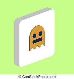 Ghost, Phantom Simple vector icon. Illustration symbol design template for web mobile UI element. Perfect color isometric pictogram on 3d white square. Ghost, Phantom icons for business project.