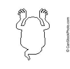 Ghost pixel art for Halloween. 8 bit phantom. Vector...