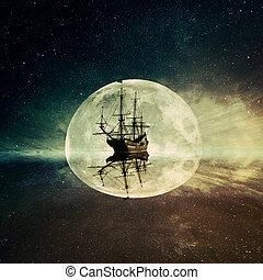 Vintage, old ship floating in the ocean floating on a moonlight night starry sky background. Adventure and journey concept