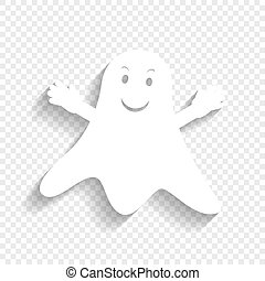 Ghost sign. Vector. White icon with soft shadow on transparent background.