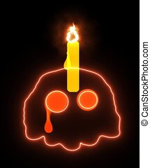 Ghost skull crying with candle burning on black screen for Mystery Ritual Religious Halloween Concept