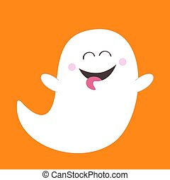 Ghost spirit showing tongue. Boo. Happy Halloween. Scary ...