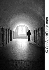 Ghost - Woman ghost in medieval room.