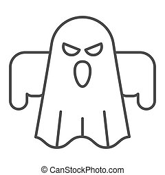 Ghost thin line icon. Scary night evil monster. Halloween party vector design concept, outline style pictogram on white background.