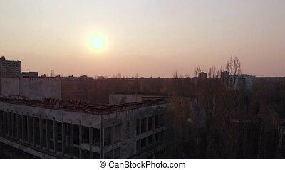 Ghost town Pripyat near Chernobyl NPP, Ukraine - Drone flies...