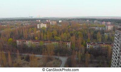 Ghost town Pripyat near Chernobyl NPP, Ukraine - View from...