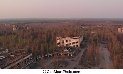 Views of the city of Pripyat near the Chernobyl nuclear power plant, aerial view. The main square of the abandoned city Pripyat at sunset