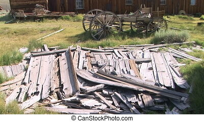 Ghost Town Sawmill - Lumber outside of a sawmill in the...