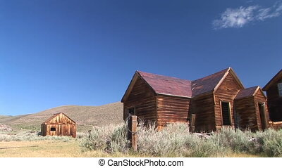 Street scene of the ghost town of Bodie