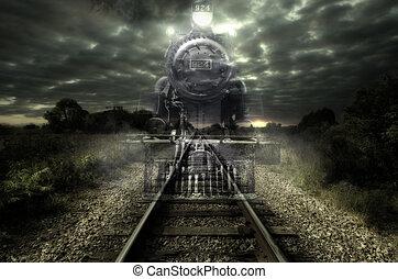 Ghost train - Old steam locomotive seems like a ghost train....