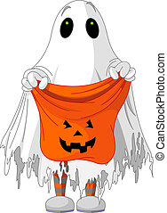 Ghost trick or treating - Child in ghost costume trick or...