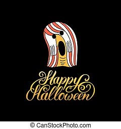 Ghost vector illustration with Happy Halloween lettering. All Saints Eve background. Festive phantom card.