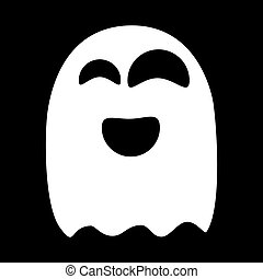 Ghost. White on black background. Vector Illustration.