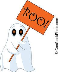 Illustration of Very cute ghost with %u201CBoo%u201D sign