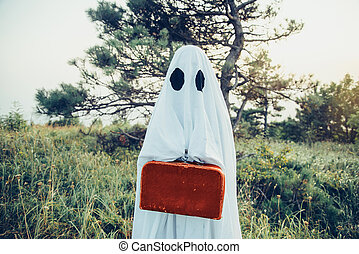 Ghost with suitcase