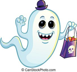 Ghost with Trick or Treat Bag - Cartoon of a silly looking...