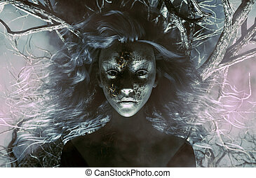 Ghost woman in creepy forest,3d Mixed media for book ...