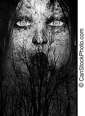 Ghost woman in the woods - 3d illustration of close up scary...