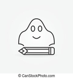 Ghost writing concept simple icon or design element in thin...