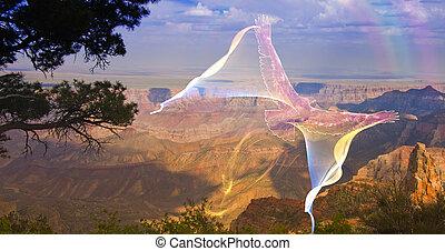 Ghostlike bird in flight above grand canyon rim