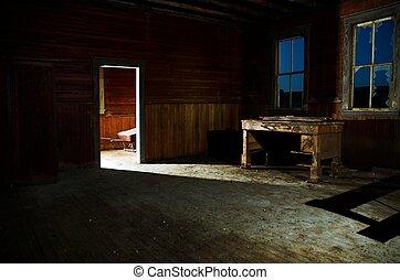 Ghostly light coming through door.