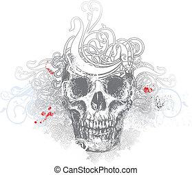 Ghostly skull illustration