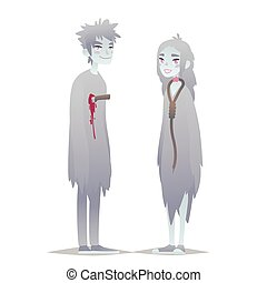 Ghosts couple. Cute young boy and girl in style of Dead Monster going for Halloween party. Vector.