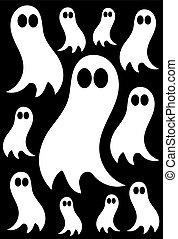 Ghosts - White ghosts over black background - halloween...