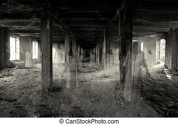 ghosts in the abandoned dark building