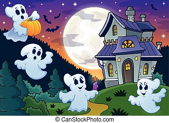 Ghosts near haunted house theme 3 - eps10 vector ...
