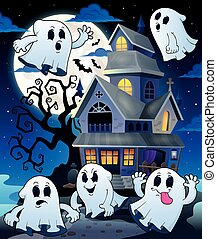 Ghosts near haunted house theme