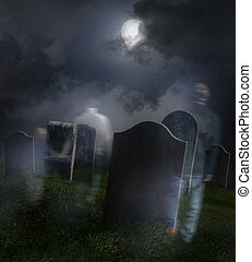 Ghosts wandering in old cemetery with full moon