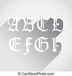 Ghotic letters - Old gothical handwritten letters, flat...