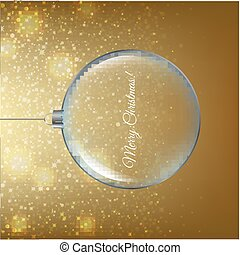 Ghristmas Ball With Golden Background