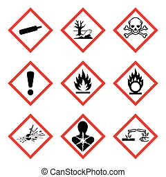 GHS 9 New Hazard Pictogram. Hazard warning sign ( WHMIS ), isolated vector illustration
