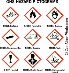 ghs hazard pictograms - set of globally harmonized system...