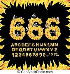 giù, alphabet., font., tortura, fuoco, 666, abc., infernal, ...