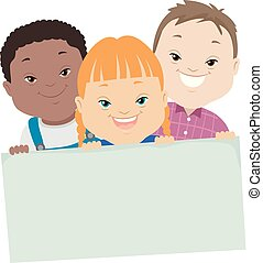 giù, bambini, sindrome, illustrazione, asse