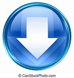 giù, blu, icona freccia