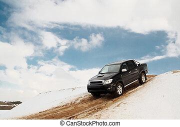 giù, camioncino scoperto, collina, guida