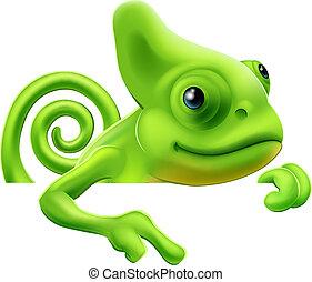 giù, cartone animato, indicare, camaleonte