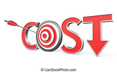 giù, concetto, costo