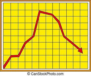 giù, finanziario, illustrazione, chart., vettore, spostamento, freccia, rosso