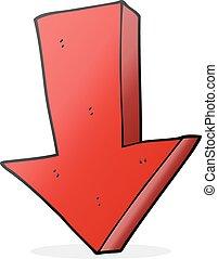 giù freccia, cartone animato, indicare
