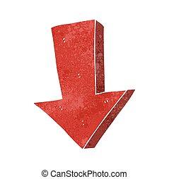 giù freccia, retro, indicare, cartone animato