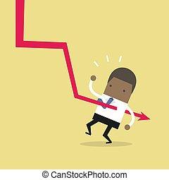 giù, grafico, africano, businessman., cadere