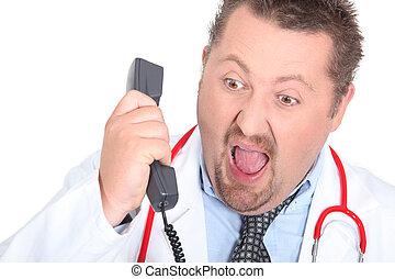 giù, gridare, arrabbiato, telefono, dottore
