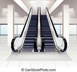 giù, interno, concetto, su, scale mobili